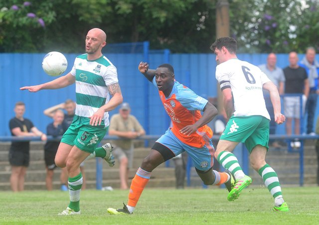 Tobi Sho-Silva in action for Town on their last visit to Farsley Celtic in July 2019