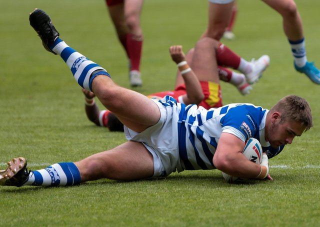 TRY TIME: Halifax Panthers scored nine tries in their 46-12 win over Sheffield Eagles. Picture: simonomhrugbypics.
