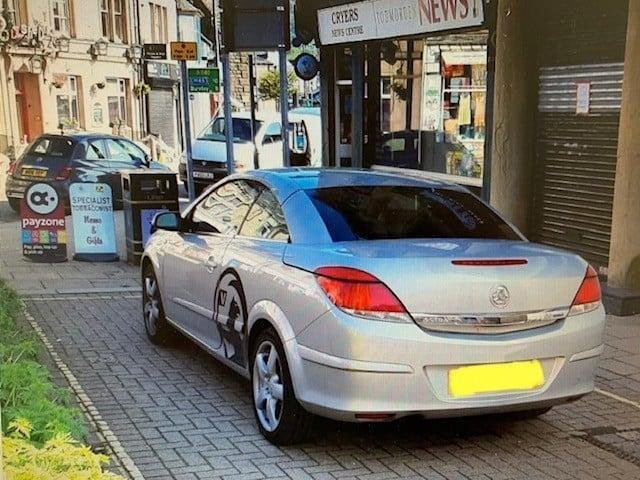 The seized car in Todmorden town centre