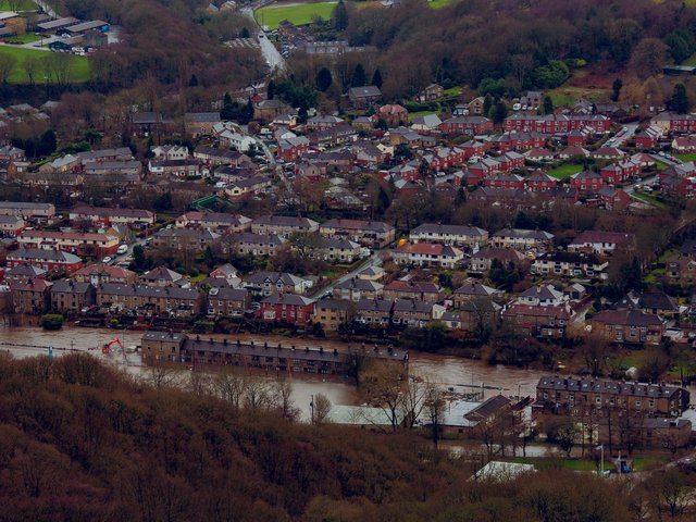 Birds eye view of flooding in Mytholmroyd, a large village in the Upper Calder Valley in West Yorkshire, after storm Ciara hit the Calder Valley on February 9 2020. Photo credit: Daisy Brasington