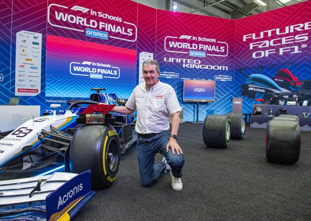 5 June 2021.....   Founder and chairman of F1 in Schools Andrew Denford on the  broadcasting set in the Denford factory in Brighouse featuring a replica F1 car, beaming the races worldwide on YouTube. The F1 in Schools headquarters at Denford Ltd in Brighouse hosting the 16th annual F1 in Schools World Finals over the weekend.43 teams of students from 18 countries around the world joined via Zoom to watch their F1 in Schools cars race on the official F1 in Schools 20 metres track, in a time of around one second. Picture Tony Johnson