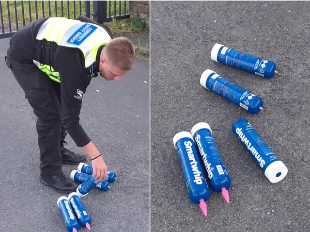 The discarded Nitrous Oxide cans (picture Calderdale Council's Community Protection Team)