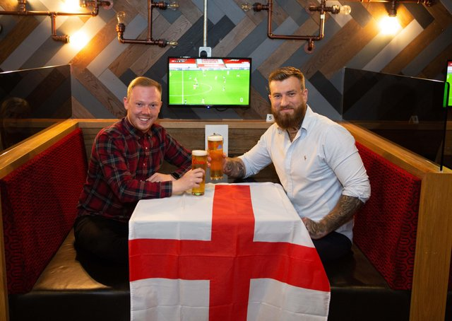 Ben Watson and Joe Wood celebrate the opening of their new sports bar, Bourbon St Social, and the start of the Euros, Broad Street Plaza, Halifax
