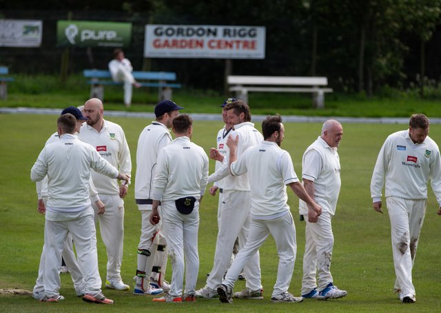 Actions from Mytholmroyd v Triangle, at Mytholmroyd Cricket Club. Pictured is Curtis Whippy celebrating another wicket