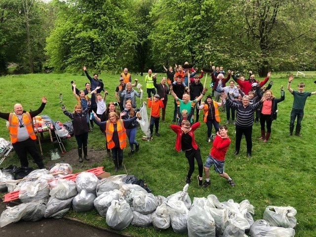 Community clean-up day at Shaw Park in Holywell Green. Picture: Calderdale Council.