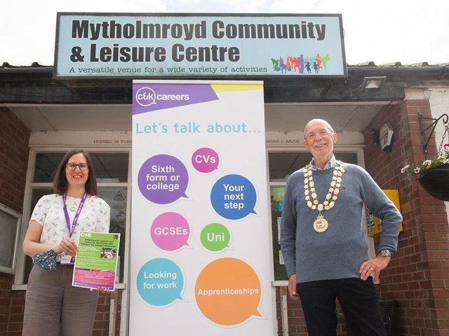 Sarah Bruce and Coun Rob Freeth, Mayor of Hebden Royd. Picture: Richard Needham