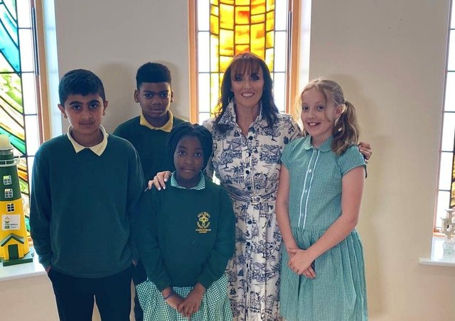 Liz Whetham with pupils at Holy Trinity Primary School. Photo taken by ©GretaBugy
