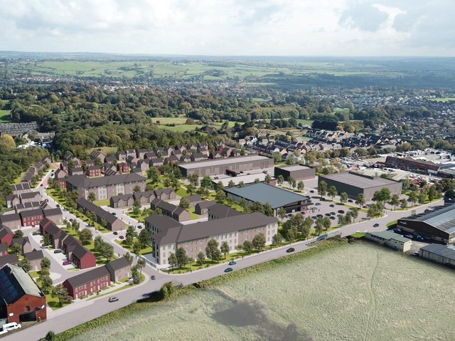 Artist impression of how the Crosslee development could look. Aerial view from Brighouse Road (picture Whittam Cox Architects)