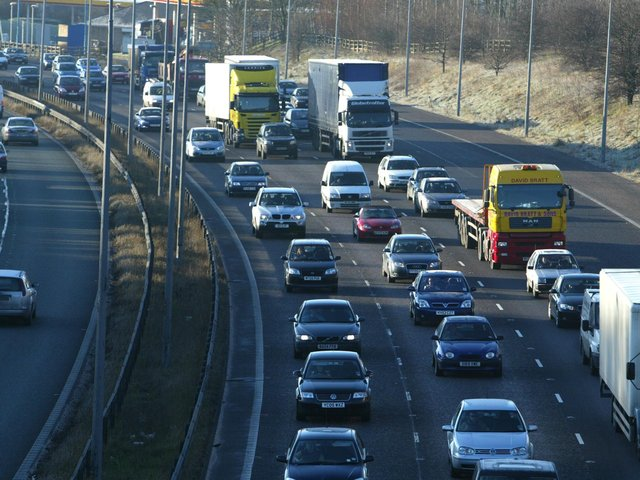 Firefighters are tackling a lorry fire on the M62