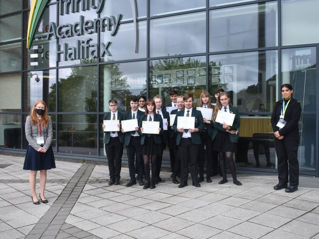 Halifax MP Holly Lynch with students at Trinity Academy,