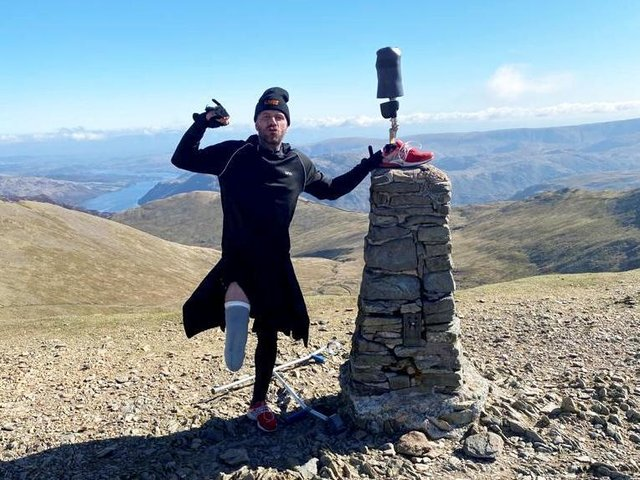 Ben Lovell who can only walk for 20 minutes at a time has climbed England's three highest peaks