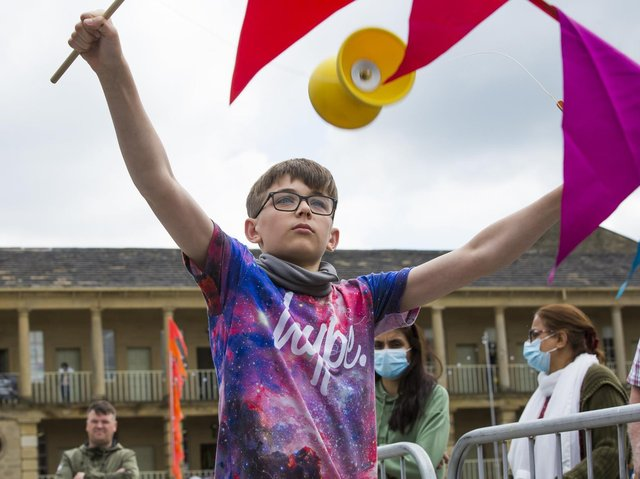 Daniel Perry, 12, tries his hand at throwing a diabolo.
