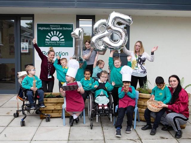 The students at Highbury School raised £185