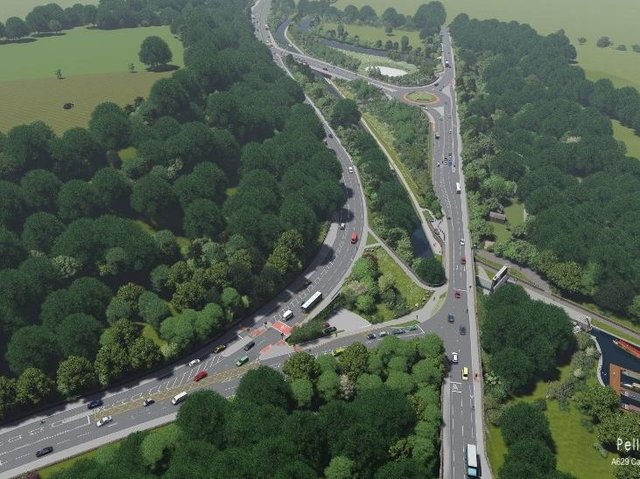 Artist impression of the A629 phase Ib scheme, elland bypass (picture Pell Frischmann)