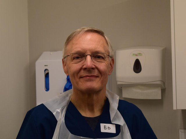 Dr Ed Bylina who retired as a GP at Bankfield Surgery six years ago but has returned to help with the vaccination programme.