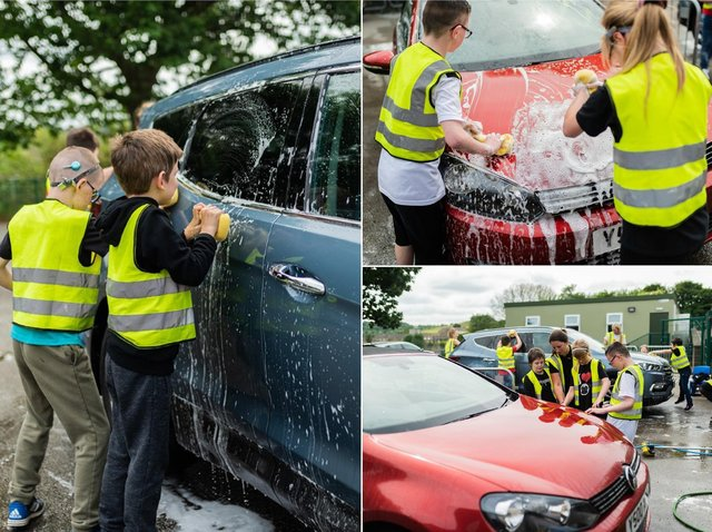 Pupils at Copley Primary School have been raising funds for a new mini bus after one was stolen from Highbury School in Rastrick (pictures John Nelson Photography)