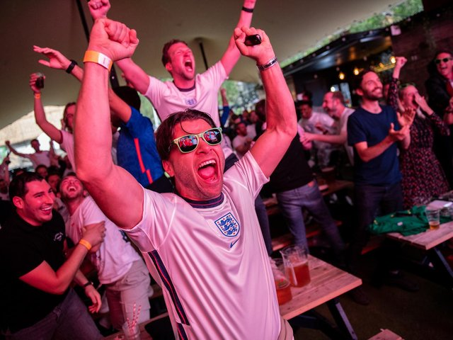 Fans celebrate England's victory against the Ukraine (Getty Images)