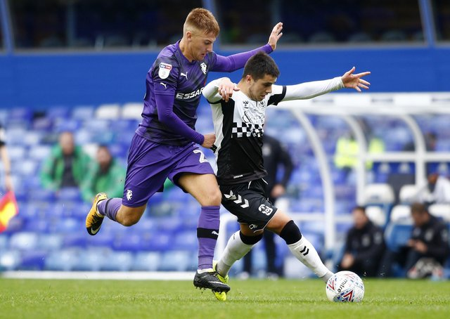 Harvey Gilmour, left, playing for Tranmere in October 2019. (Photo by Morgan Harlow/Getty Images)