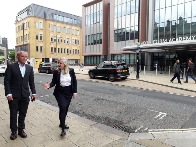 West Yorkshire Metro Mayor Tracy Brabin with Calderdale Council's Chief Executive, Robin Tuddenham, next to the borough's new Sixth Form Centre. Picture: Calderdale Council