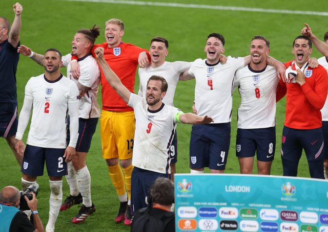 England celebrate their side's victory towards the fans after the UEFA Euro 2020 Championship Semi-final match between England and Denmark at Wembley Stadium on July 07, 2021 in London, England. (Photo by Catherine Ivill/Getty Images)