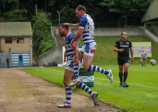 Matt Garside celebrates scoring the match-securing try for Halifax Panthers in the 14-4 win over Whitehaven. Picture: simonomhrugbypics