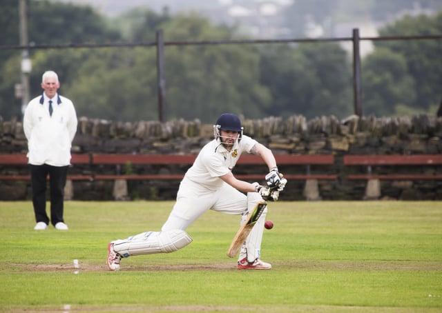 Cricket - Shelf Northowram Hedge Top v Copley. Chris Conroy bats for Hedge Top.