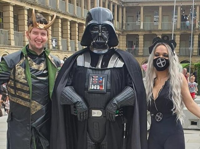 Ross and Natalie Denby  - dressed as Loki and Storm - with Darth Vader