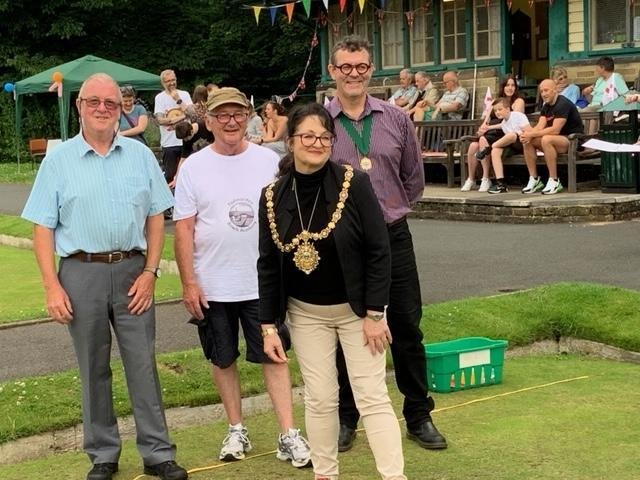 Councillor Pat Taylor, Mayor of Todmorden, bowled her first bowls as Todmorden Bowls Academy.