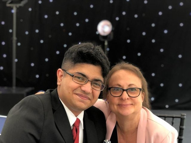 Apprentice Sahir Khalid with Chief Operating Officer Rachel Dilley