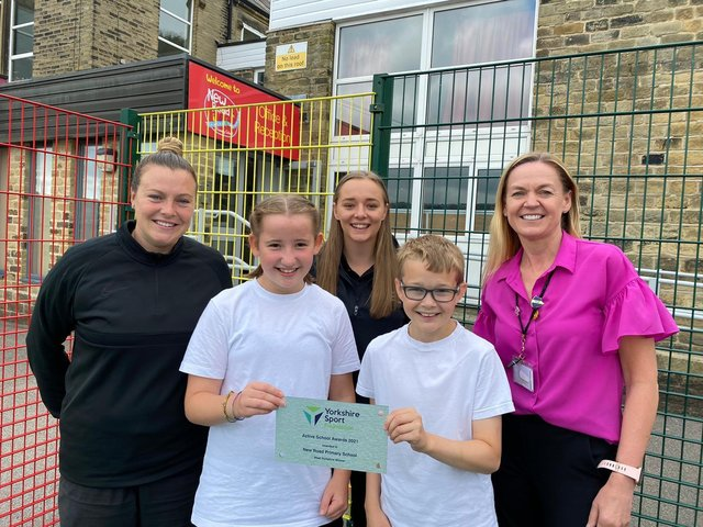 Emily Heckler (Sports Coach), Ava, Charlotte Ellis (PE, School Sport and Physical Activity Officer, Yorkshire Sport Foundation), Jack, and Sharon Harwood (Headteacher, New Road Primary School)