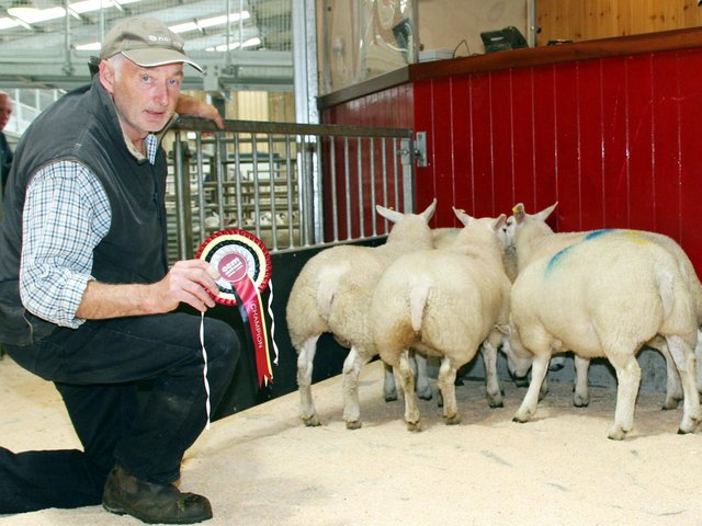 Robert Fielden with his latest August prime lamb champions.